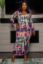 """Arts and Crafts"" Maxi Dress - Multi Pink Blue"