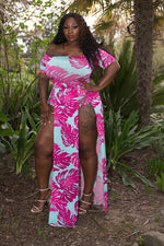 "Plus Size ""Meilani"" Off Shoulder Short Sleeve Maxi Dress Poolside Romper - Hot Pink/Turquoise Blue"