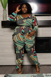 """Office Strut"" Harem Jumpsuit - Teal Multi"
