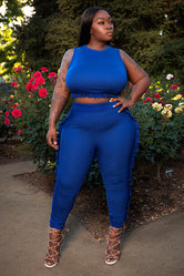 "Plus Size ""Netta"" 2 Piece Ruffle Jogging Set Sweat Suit - Blue"