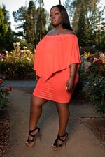 "Plus Size ""Nadia"" Off Shoulder Tube Dress - Coral Floral"