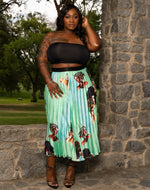 "Plus Size ""Dark Chocolate Mint"" Pleated Midi Accordion Skirt - Mint Green"