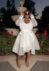 "Plus Size ""Mavis"" Belted Mesh Coat Dress  - White"