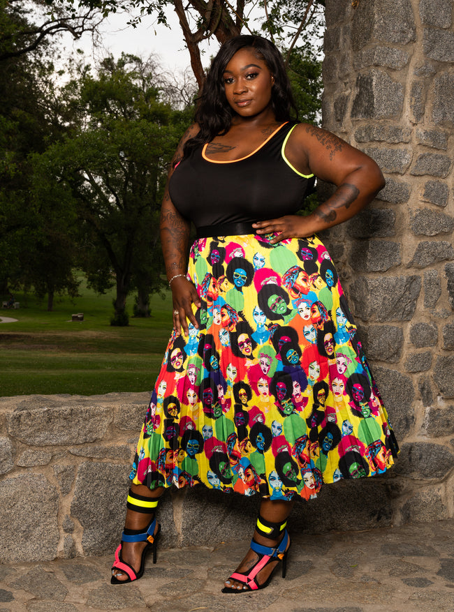"Plus Size ""We Got Melanin"" Pleated Midi Accordion Skirt - Yellow Multi"