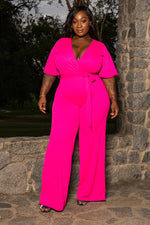 "Plus Size ""Dilliah"" Wide Leg Jumpsuit - Fuchsia Pink"