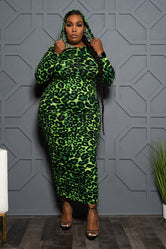 "Plus Size ""Fly Girl"" Leopard Hooded Maxi Dress - Green Animal"