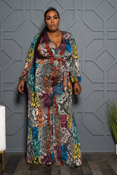 "Plus Size ""Serpiente"" Color Block Jumpsuit - Multi"