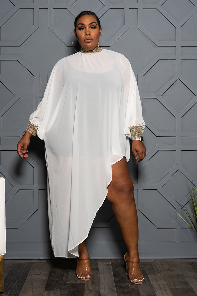 "Plus Size ""Carmen"" Chiffon Top - White"