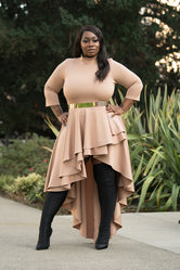 "Plus Size "" Marcy"" Triple Layer High Low Cascade Dress Top - Mocha Nude"