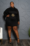 Plus Size Long Sleeve Tee Shirt Dress - Black