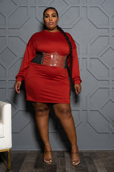 Plus Size Long Sleeve Tee Shirt Dress - Rust