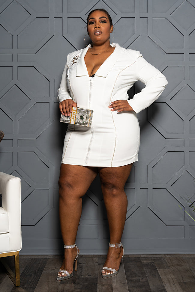 "Plus Size ""Trail Blazin"" Blazer Dress - White"