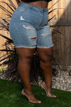 """Cuffed""  Bermuda Destroyed Denim Jean Short - Blue 8302"