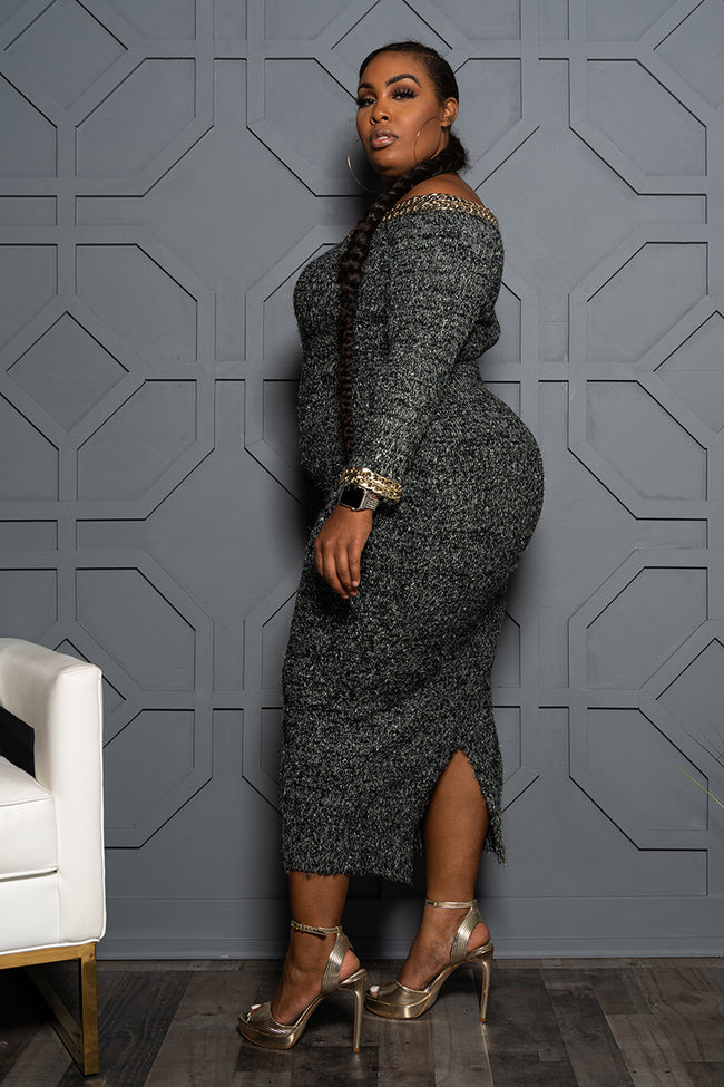 "Plus Size ""Too Bougie"" Tweed Sweater Dress - Black"