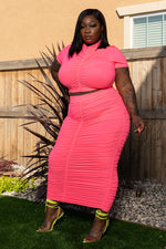 """Better Days Are Here"" Ruched Skirt Set - Neon Pink"