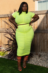 """Better Days Are Here"" Ruched Skirt Set - Neon Green"