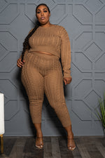 "Plus Size ""It's a Set Up"" Cable Knit Sweater Set - Caramel"