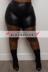 "Plus Size ""Runners"" Vegan Leather Shorts - Black"