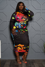 "Plus Size ""Color Water"" Paint Splash Midi Dress - Black Green"