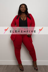 "Plus Size ""Suits Me Just Fine"" Pant Suit Set - Red"