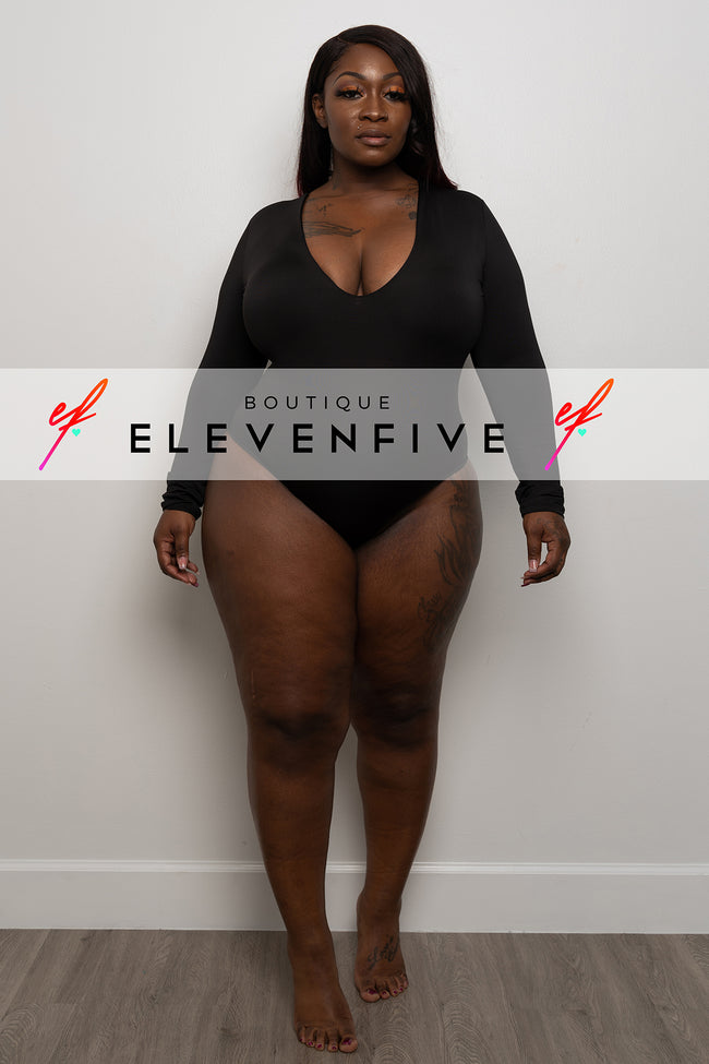 "Plus Size ""Midway"" Long Sleeve Bodysuit - Olive"