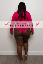 "Plus Size ""Midway"" Long Sleeve Bodysuit - Hot Pink"