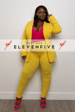 "Plus Size ""Suits Me Just Fine"" Pant Suit Set - Yellow"
