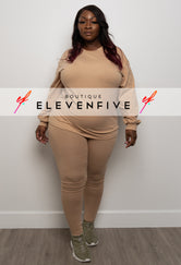 "Plus Size ""Ready Set Go"" Long Sleeve Legging Set  - Nude"