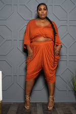 "Plus Size ""Lovin the Skin I'm In"" Harem Set - Rust"