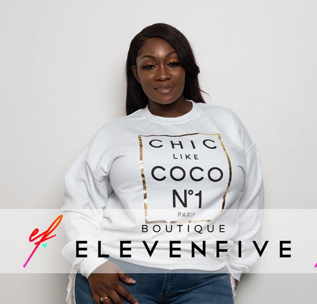 "Plus Size ""CoCO No1"" Sweatshirt - White"