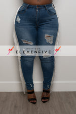 "Plus Size ""Rodeo Drive"" Tassel Denim Jeans- Washed Medium Blue 4545x"