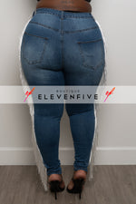 "Plus Size ""Rodeo Drive"" Tassel Denim Jeans- Washed Medium Blue"