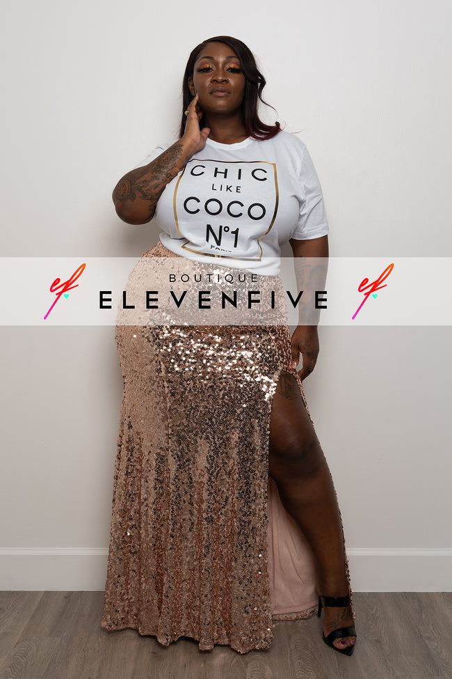 "Plus Size ""Masquerade Ball"" Sequin Skirt - Rose Gold"