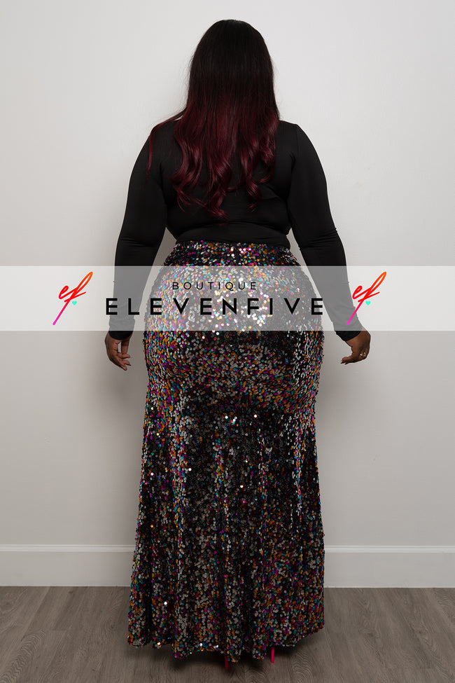 "Plus Size ""Masquerade Ball"" Sequin Skirt - Multi"