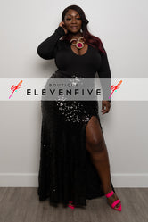 "Plus Size ""Masquerade Ball"" Sequin Skirt - Black"