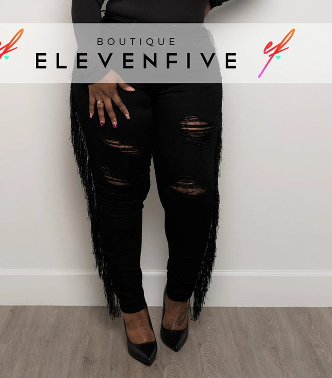 "Plus Size ""Rodeo Drive"" Tassel Denim Jeans- Black Wash"