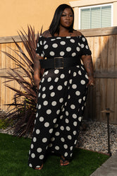 """Where's Mickey"" Polka Dot Off Shoulder Maxi - Black White"