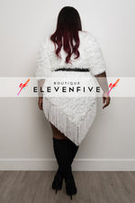 "Plus Size ""Silent Killer"" Oversized Tassel Sweater - White"