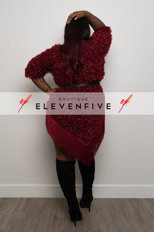 "Plus Size ""Silent Killer"" Oversized Tassel Sweater - Burgundy"