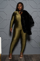 "Plus Size ""Body Glove"" Catsuit- Olive"