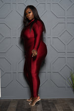"Plus Size ""Body Glove"" Catsuit- Burgundy"