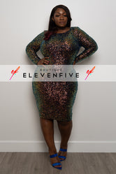 "Plus Size ""Cat Walk"" Sequin Dress - Multi Navy"