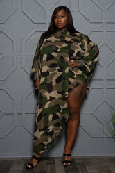"Plus Size ""Carmen"" Army Chiffon Top - Camo Green"