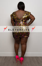 "Plus Size ""Party Animal"" Leopard Print Sequin Mini Dress - Gold Multi"
