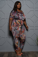 "Plus Size ""Trap Queen"" Denim Print Jumpsuit - Multi"