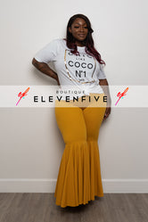 "Plus Size ""Guilty Pleasure"" Bell Bottom Pants -  Mustard"