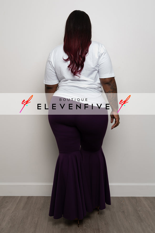 "Plus Size ""Guilty Pleasure"" Bell Bottom Pants -  Purple EggPlant"
