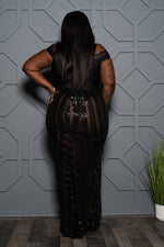 "Plus Size ""City Nights"" Sequin Fishtail Skirt - Black"