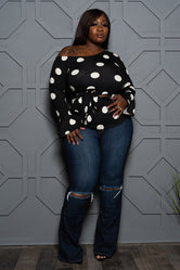 "Plus Size ""Kamala"" Polka Dot Top - Black White"