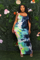 """Indigo"" Tie Dye Long Tank Dress - Multi Blue Red White Green"